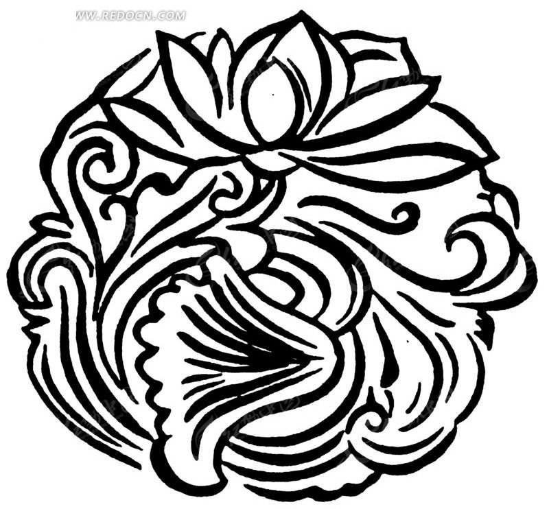 手绘线条莲花圆图案