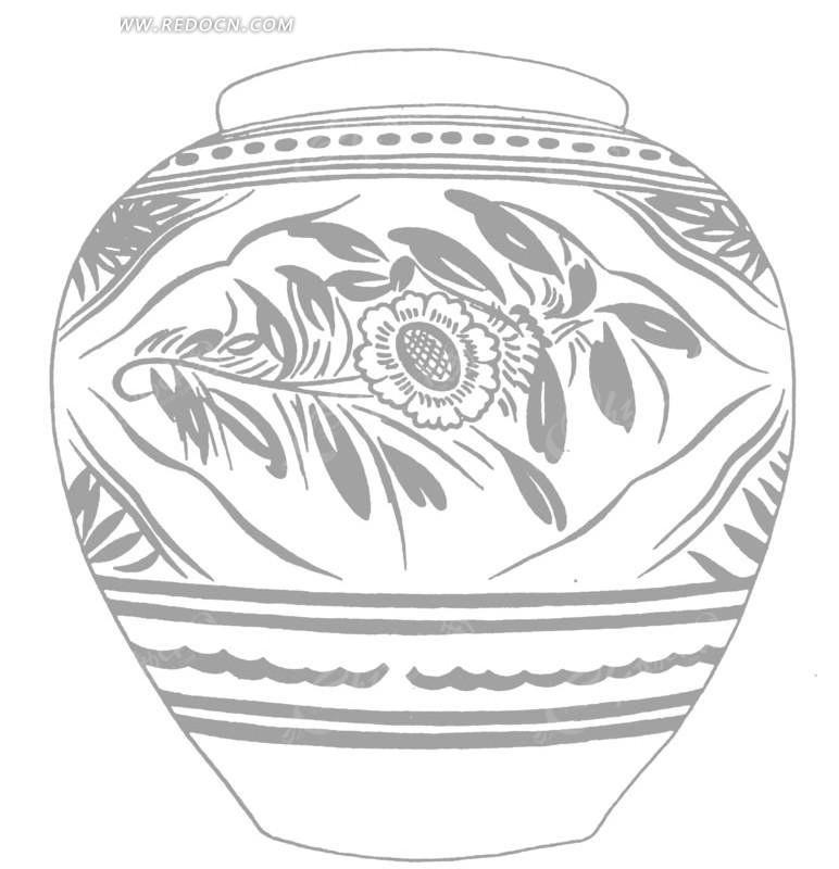 一个手绘陶瓷花罐