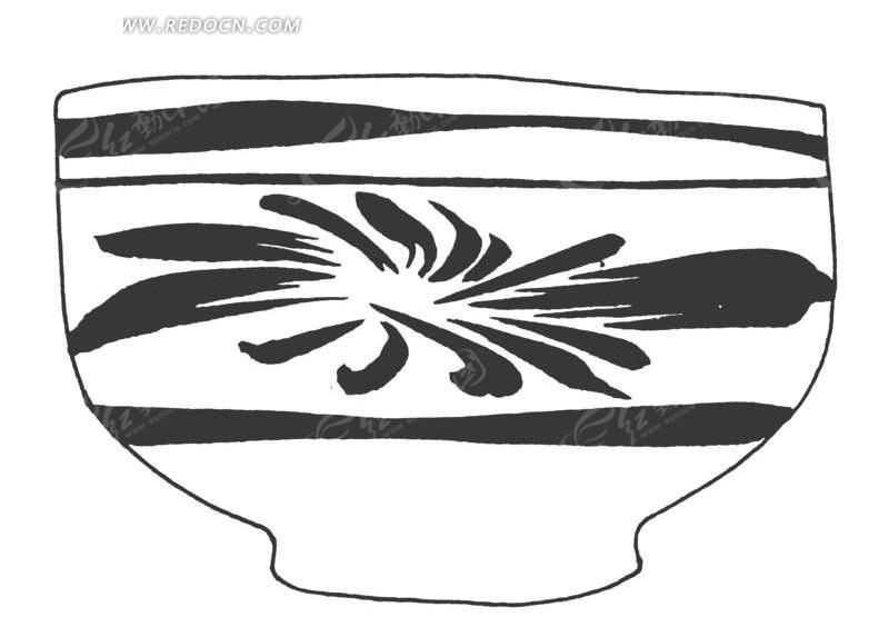 手绘陶瓷碗剖面图 简单的手绘陶瓷碗剖面图