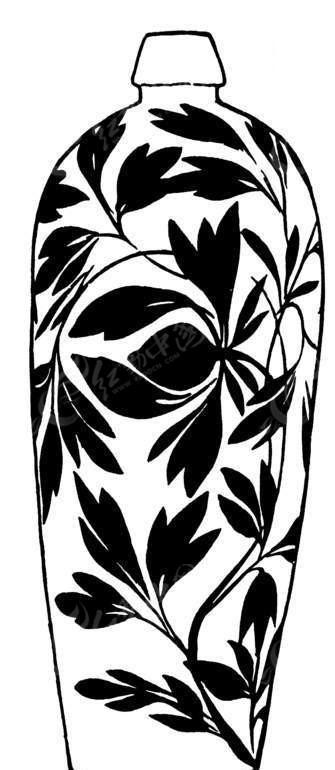 手绘紧口陶瓷花瓶矢量图_传统图案