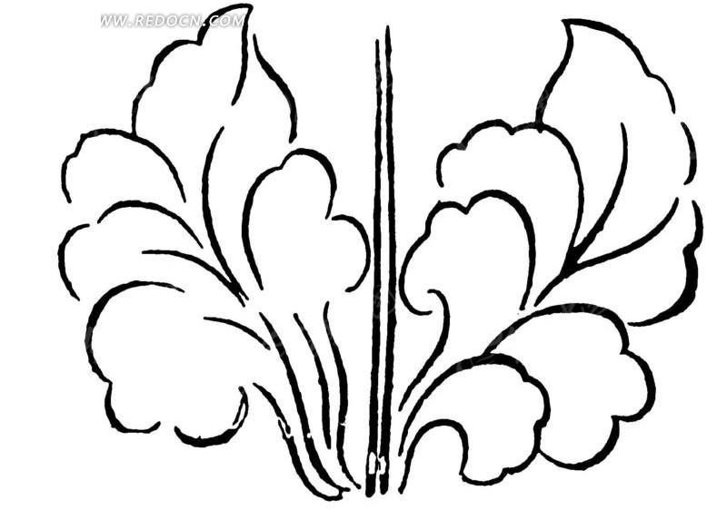 中国古典图案-如意形构成的叶子状图案图片