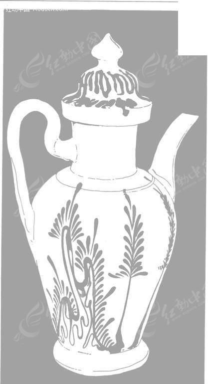 手绘带花纹的酒壶