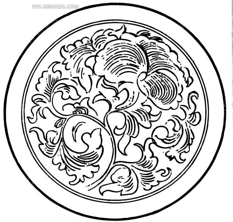免费素材 矢量素材 艺术文化 传统图案 带花纹的陶瓷碗底面图  请您