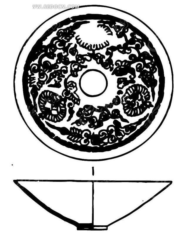 黑白手绘陶瓷碗剖面图案素材