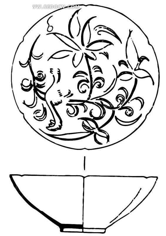 手绘陶瓷碗花纹图案素材