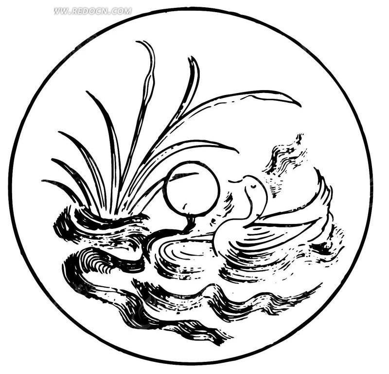 鸳鸯戏水手绘图