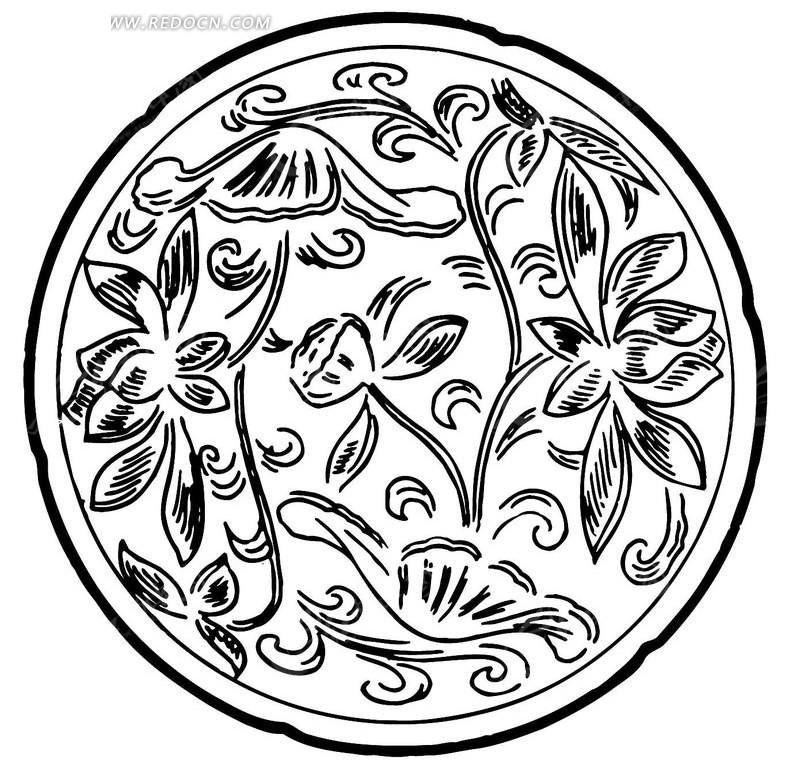 免费素材 矢量素材 艺术文化 传统图案 传统花纹图案的盘子ai素材  请