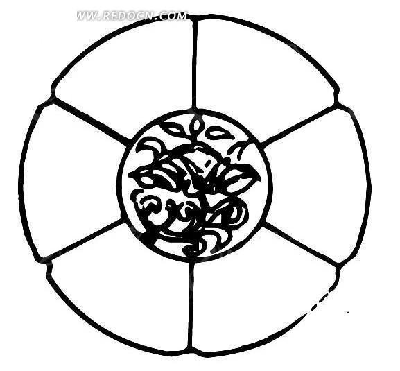 中国古典图案-叶子构成的被分割成六瓣的圆形图案