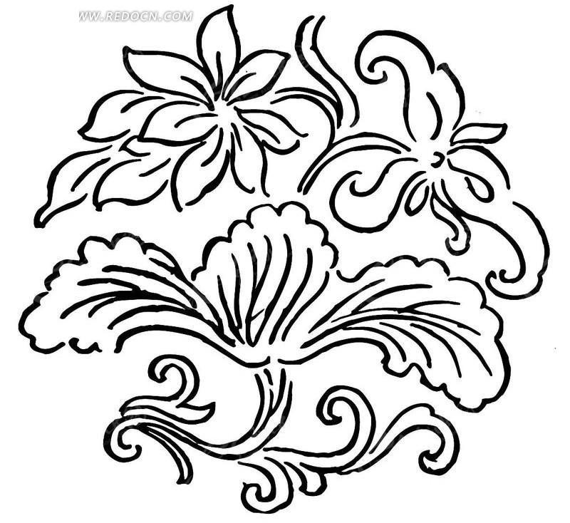 黑白手绘花边图案矢量图_传统图案; 手绘花边图片; 黑白画简单边框
