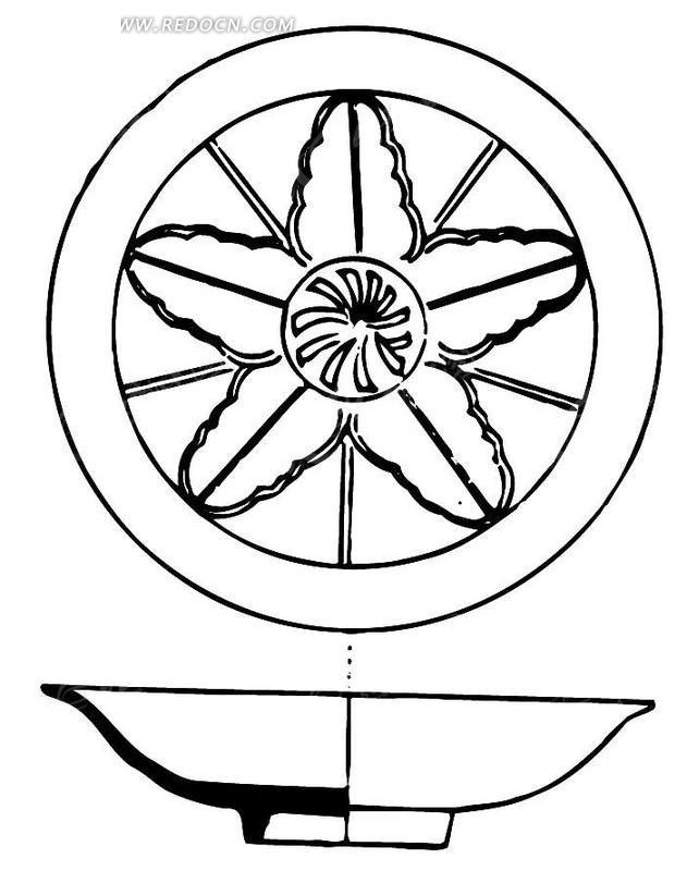 简单的手绘陶瓷碗剖面图矢量图