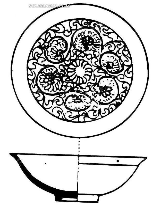 手绘陶瓷碗剖面图