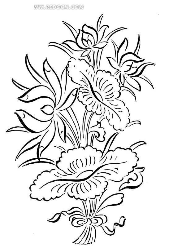 简单的黑白线描花卉矢量素材AI免费下载 编号1473419 红动网