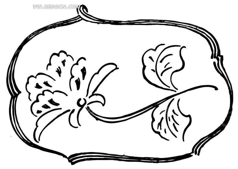 手绘藤蔓线框和鲜花