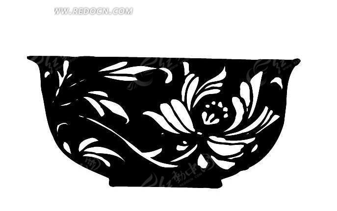 黑白花纹镂空碗剪影ai矢量图