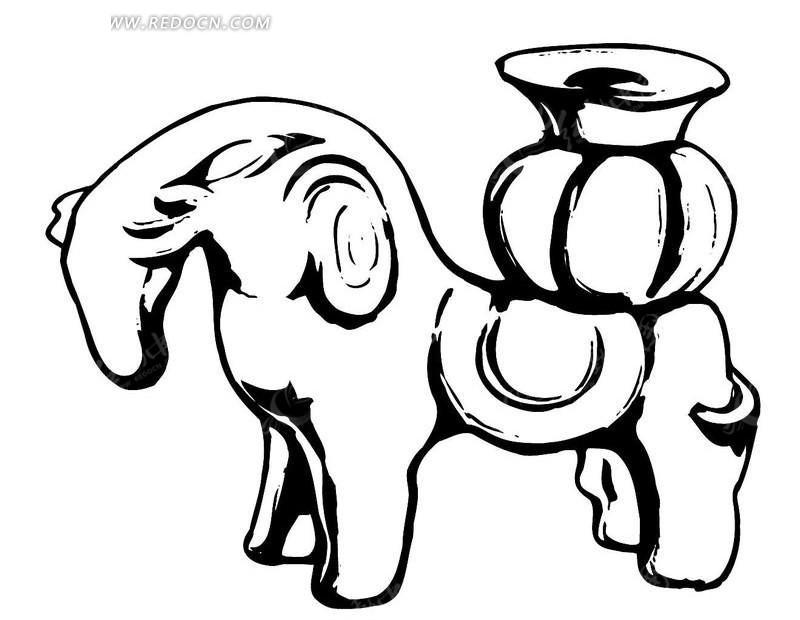 黑白手绘动物马轮廓ai