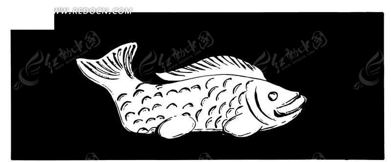 黑白鱼矢量装饰纹理图片