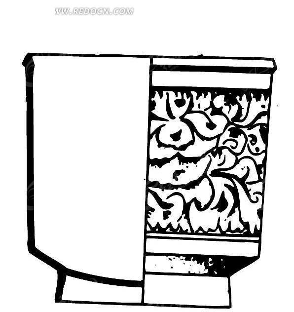 手绘方形花盆图案