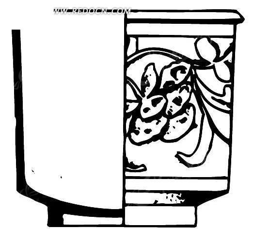 黑白传统花盆图案