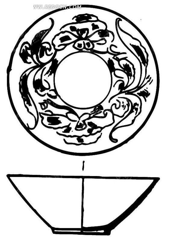 手绘陶瓷碗立面图ai免费下载_传统图案素材