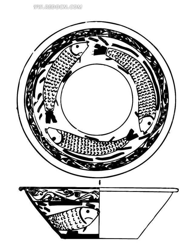 手绘陶瓷碗剖面图矢量图ai免费下载_传统图案素材