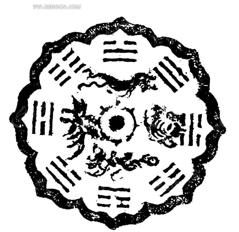 古代石刻花纹矢量素材