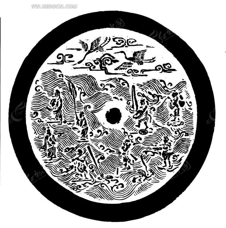 黑白花纹石刻素材