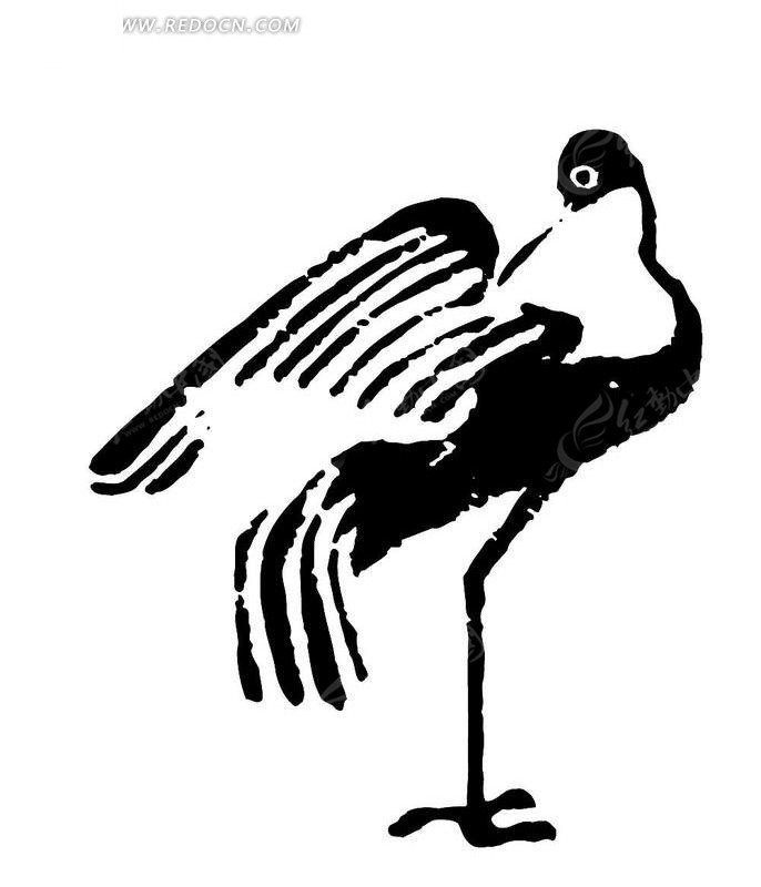 矢量手绘丹顶鹤