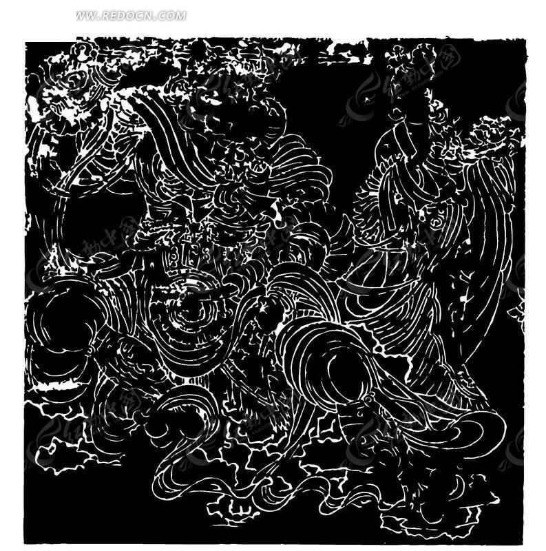 黑白线描古代人物壁画矢量素材