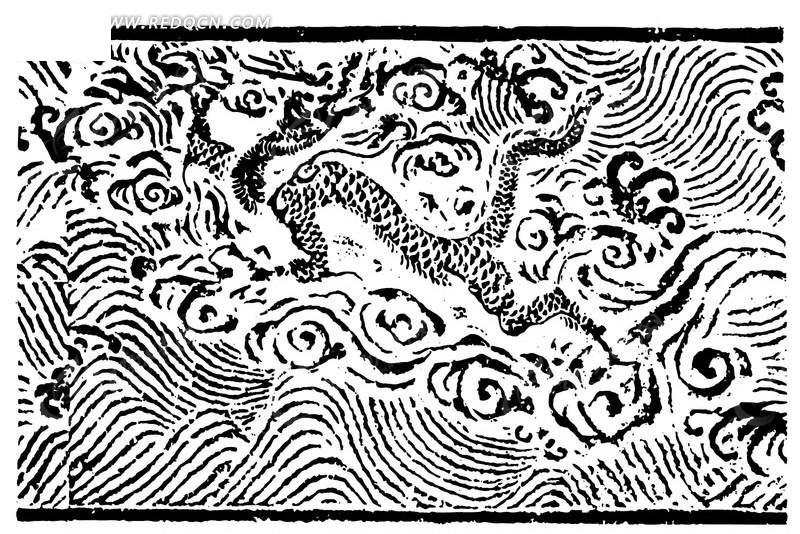 版画 中国古典 古典 龙 海浪 波浪 浪花 波纹 神兽 手绘 素描 ai