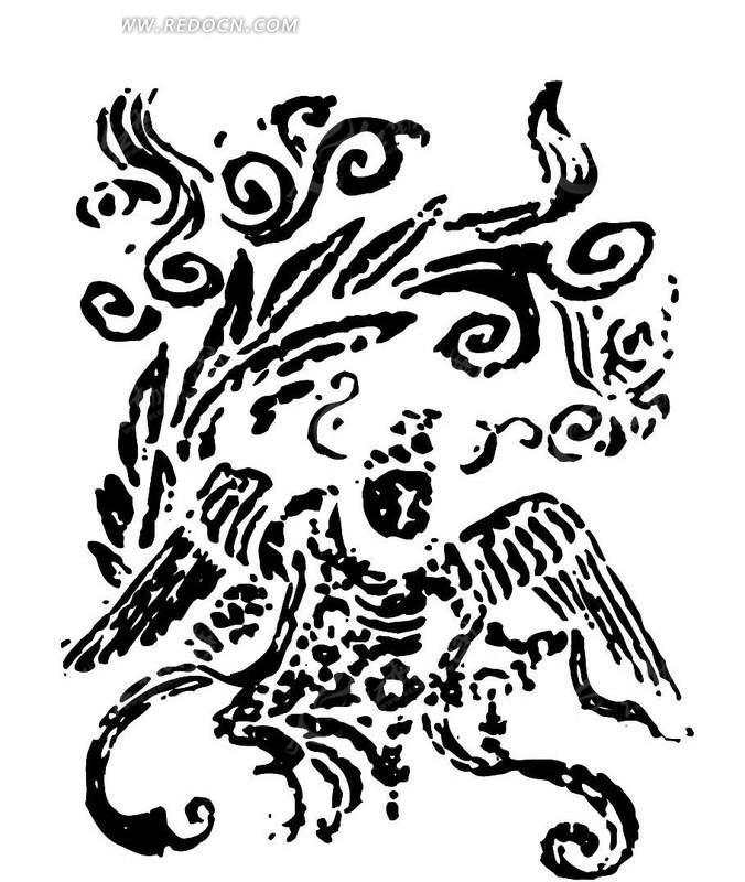 中国古典 版画 花纹 手绘 祥云 翅膀 尾巴 ai  传统图案 矢量素材