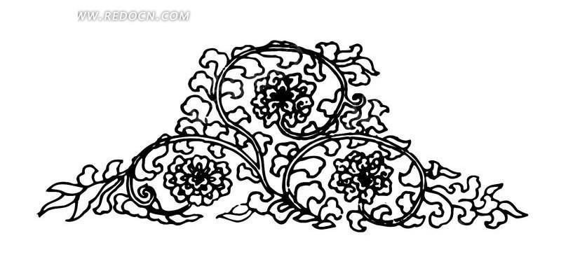 传统图案 花纹花边素材 黑白线描花朵素材 古代矢量花纹素材 花边素材