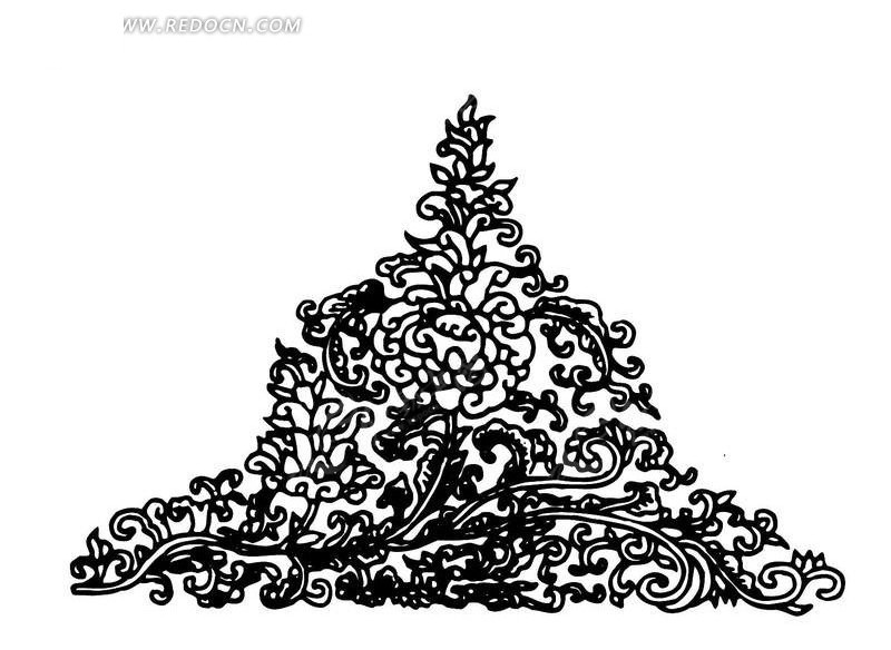 菊花抽象线描黑白花纹矢量三角形花边素材
