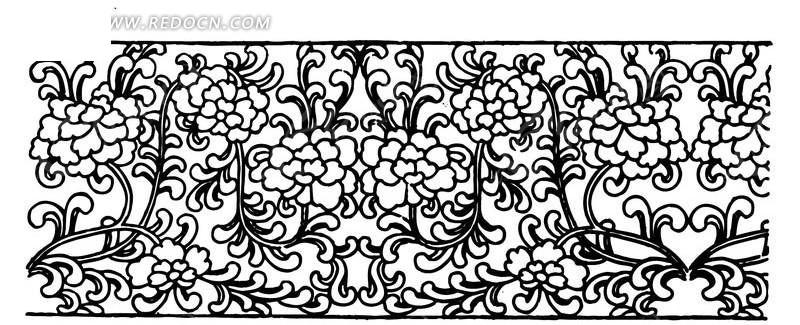 花朵 卷曲纹 精美  图案 中国风 中国古典 艺术 装饰 黑白  传统图案
