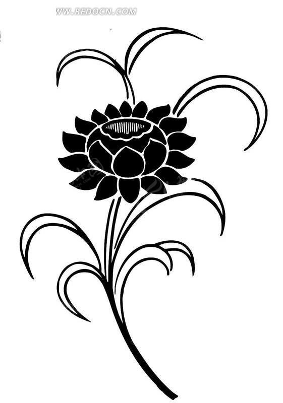 四合纹样黑白手绘