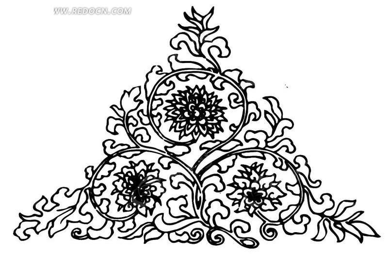 黑白素描三角花纹ai格式免费下载