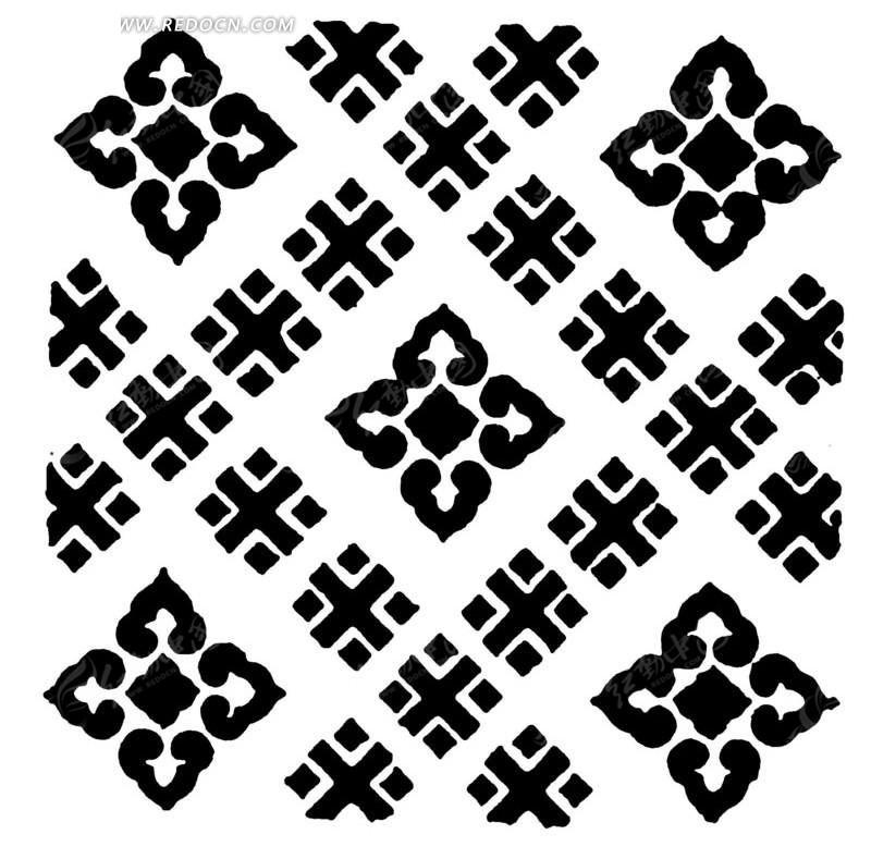 中国古典图案-花朵和几何形构成的黑白图案图片