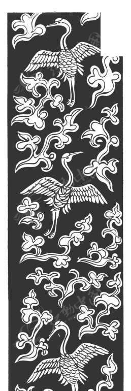 中国古典图案-展翅的仙鹤和云纹构成的精美图案矢量图