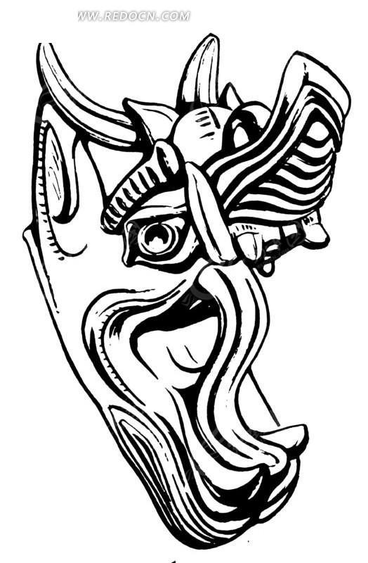 中国古典图案-张大嘴巴的龙头