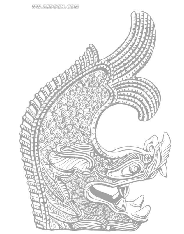 手绘木雕鳞甲龙头鱼-传统图案|纹样矢量图下载; 龙头鱼_龙头鱼的做法