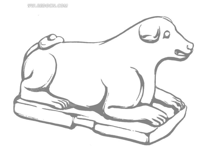 矢量灰色古代动物线条插画图形