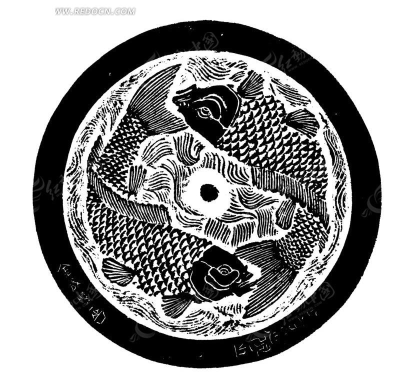 圆形莲塘双鱼纹图案
