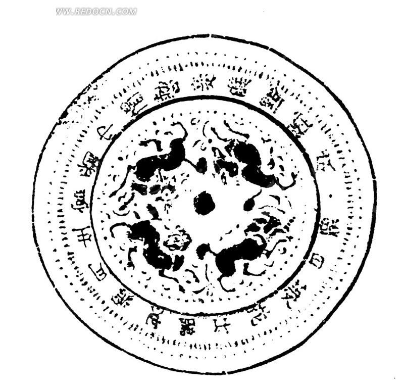中国古典图案-动物和文字构成的斑驳模糊的圆形图案