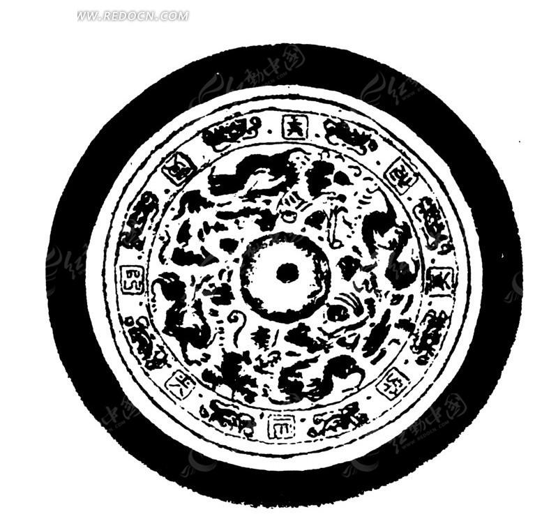 中国古典图案-几何形和文字构成的斑驳模糊的圆形啥图片; 中国古典圆