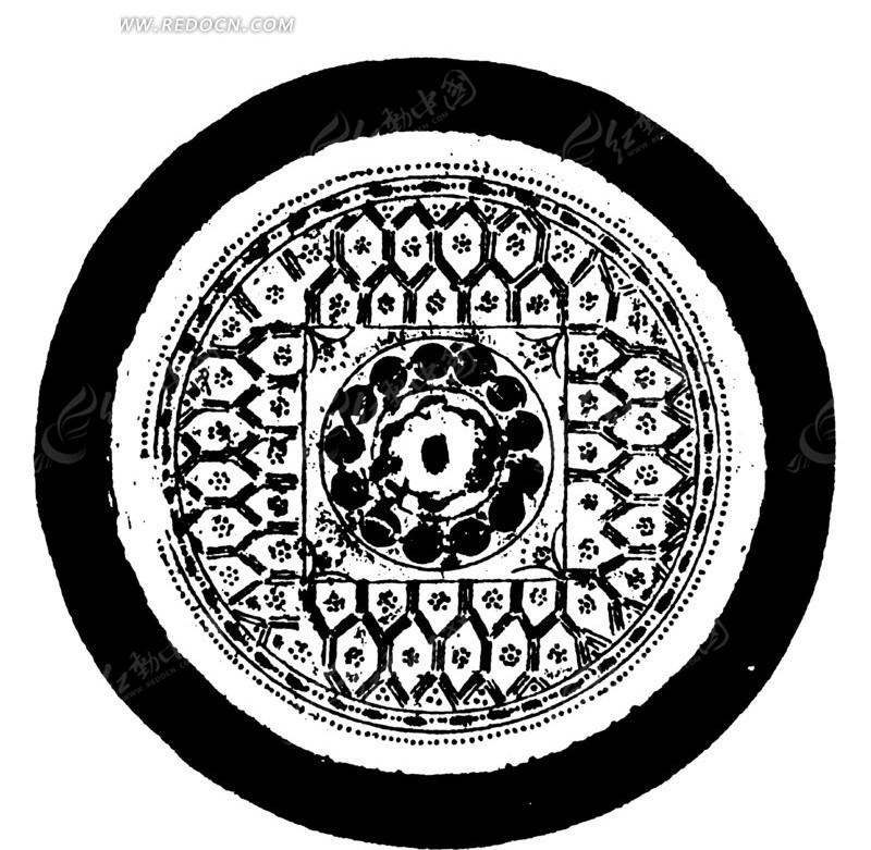 中国古典图案-几何形构成的斑驳的圆形图案