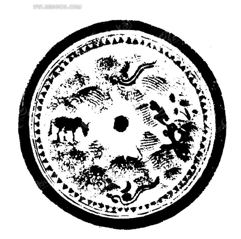 中国古典图案-动物构成的斑驳模糊的圆形图案