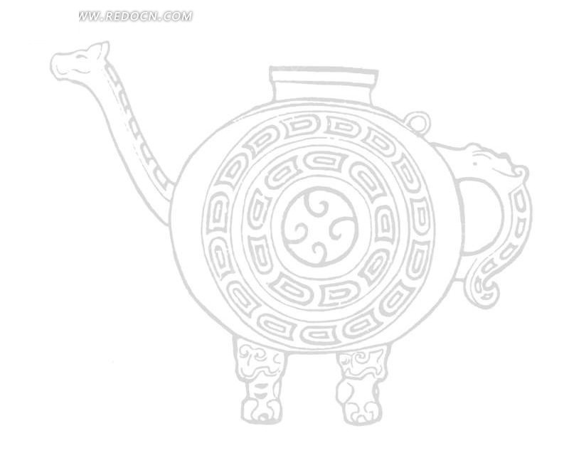 中国古代器物-带把手的壶上的回纹矢量图_传统图案