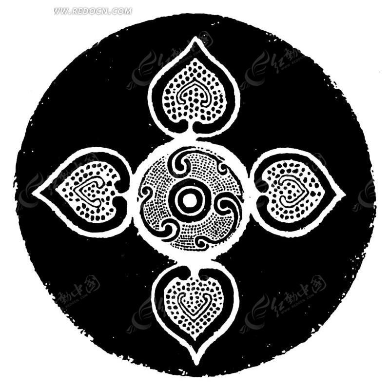 中国古典图案-几何形和卷曲纹构成的图案