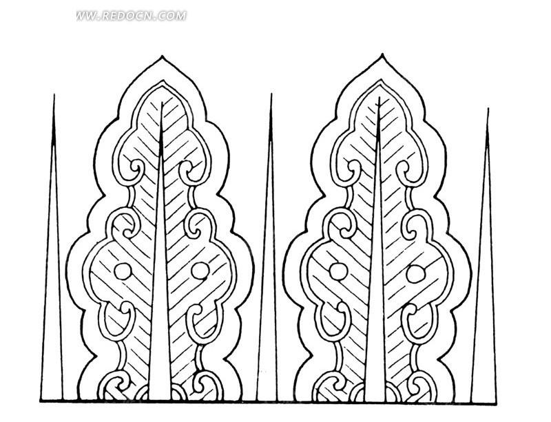 中国古典图案-带纹理的如意形构成的图案图片