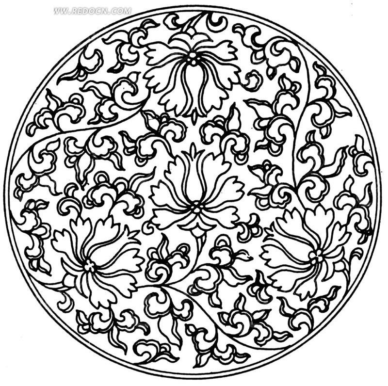 圆环 精美 植物 叶子 花朵 图案 手绘 插画 线描 矢量素材 传统图案