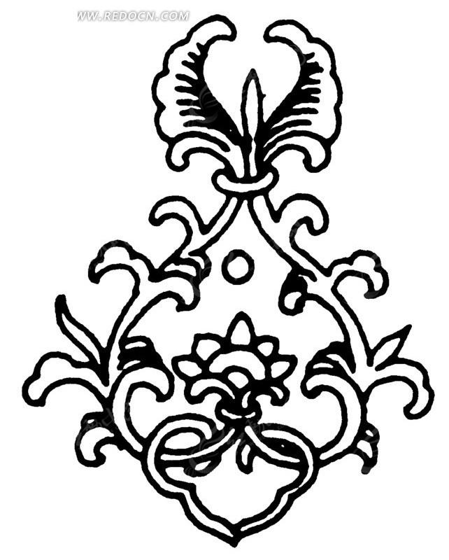 对称 植物 叶子 花朵 手绘 插画 线描 矢量素材 传统图案